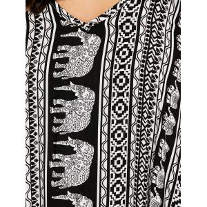 Casual Elephant Print Backless Maxi Slip Dress - WHITE AND BLACK L