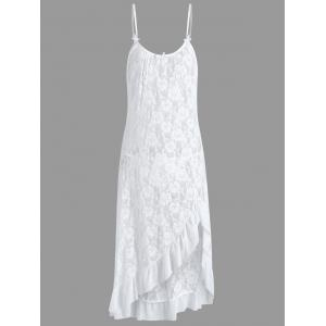 Long Lace Plus Size Ruffles Slip Babydoll - White - 6xl