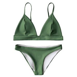 Cami Plunge Bikini Top and Bottoms - GREEN M