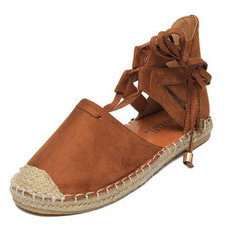Store Tie Up Espadrilles Flat Shoes - 39 BROWN Mobile