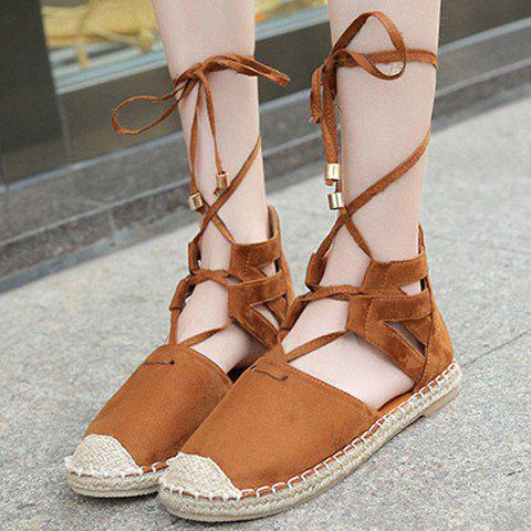 Outfit Tie Up Espadrilles Flat Shoes - 39 BROWN Mobile