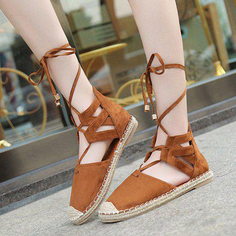 Fancy Tie Up Espadrilles Flat Shoes - 39 BROWN Mobile