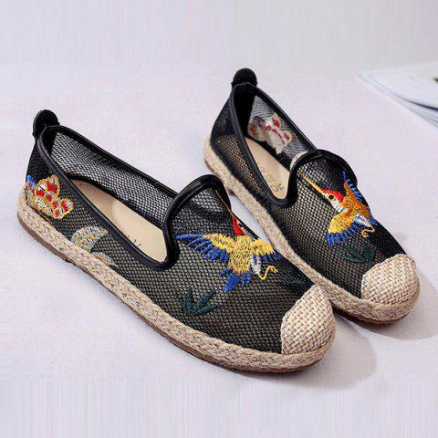 Store Espadrilles Embroidery Flat Shoes - 37 BLACK Mobile