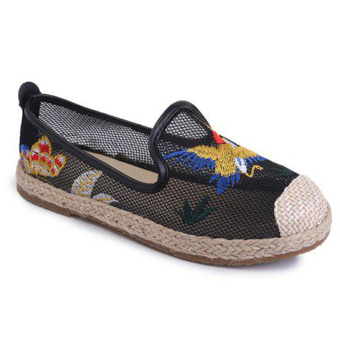 Outfits Espadrilles Embroidery Flat Shoes - 37 BLACK Mobile