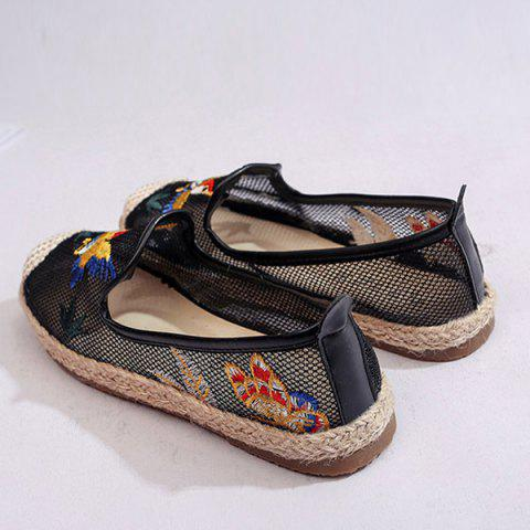 Cheap Espadrilles Embroidery Flat Shoes - 37 BLACK Mobile