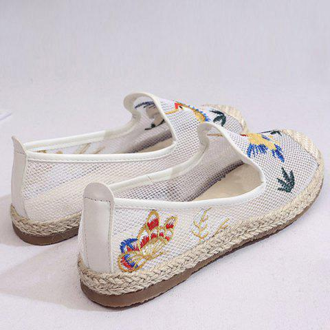 Trendy Espadrilles Embroidery Flat Shoes - 39 WHITE Mobile