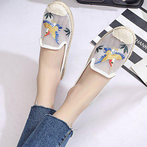 Outfits Espadrilles Embroidery Flat Shoes - 39 WHITE Mobile