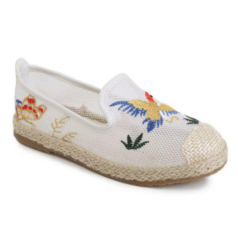 Buy Espadrilles Embroidery Flat Shoes - 39 WHITE Mobile