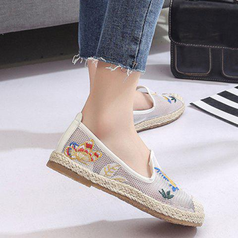 Fancy Espadrilles Embroidery Flat Shoes - 39 WHITE Mobile