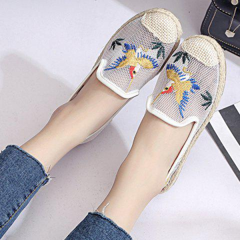 Cheap Espadrilles Embroidery Flat Shoes - 39 WHITE Mobile