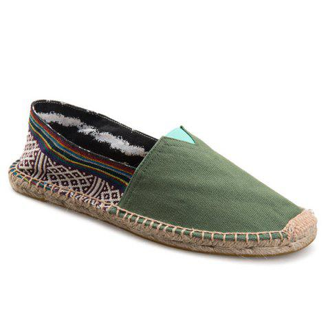 Fancy Espadrilles Canvas Striped Flat Shoes - 37 ARMY GREEN Mobile