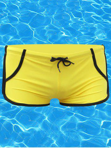 Best Two Tone Drawstring Swimming Trunks - YELLOW L Mobile