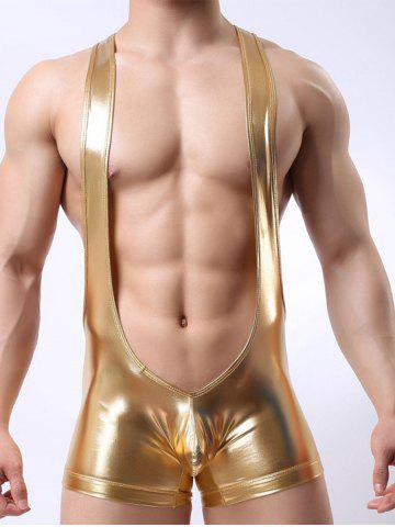 Shop Faux Leather U Convex Pouch Sexy Club Slinglet Bodysuit - S GOLDEN Mobile
