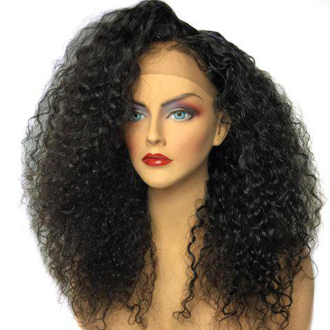 Hot Side Part Shaggy Long Afro Curly Lace Front Synthetic Wig - BLACK  Mobile