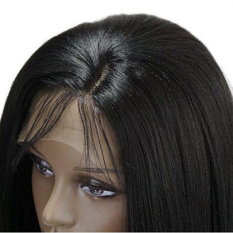 Trendy Long Side Part Glossy Thick Straight Lace Front Synthetic Wig - BLACK  Mobile