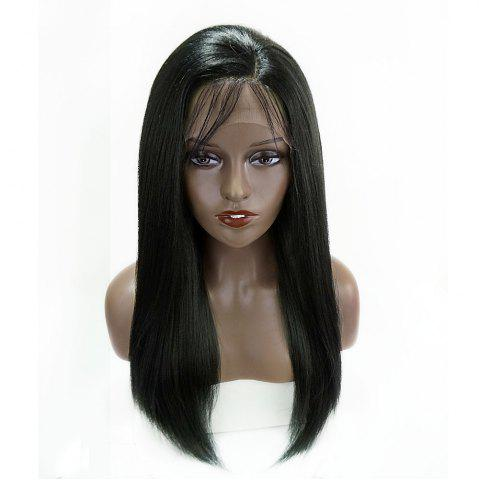 Fashion Long Side Part Glossy Thick Straight Lace Front Synthetic Wig - BLACK  Mobile