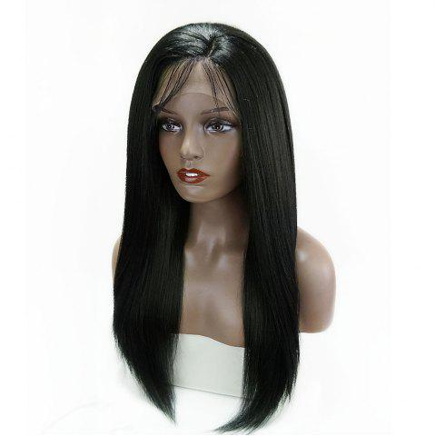 Sale Long Side Part Glossy Thick Straight Lace Front Synthetic Wig - BLACK  Mobile