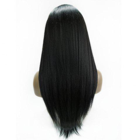 New Long Side Part Glossy Thick Straight Lace Front Synthetic Wig - BLACK  Mobile