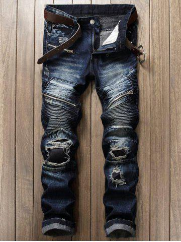 Discount Zipper Fly Patch Design Frayed Ripped Jeans DEEP BLUE 34