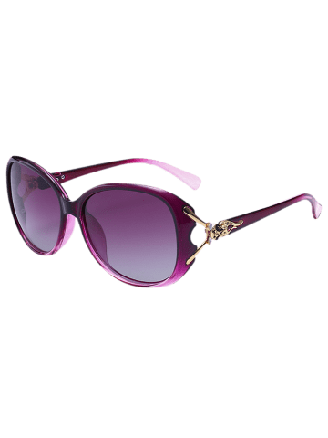 Fancy Metallic Engraved Inlay Ombre Sunglasses - PURPLE  Mobile