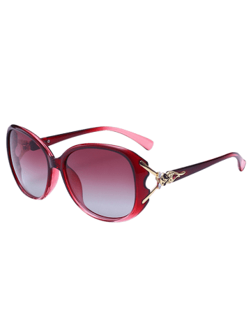 Store Metallic Engraved Inlay Ombre Sunglasses - RED  Mobile