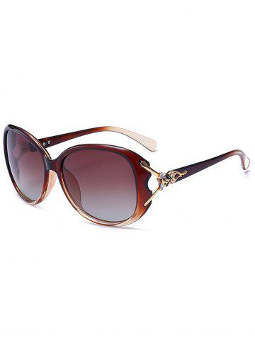 Metallic Engraved Inlay Ombre Sunglasses - Tea-colored