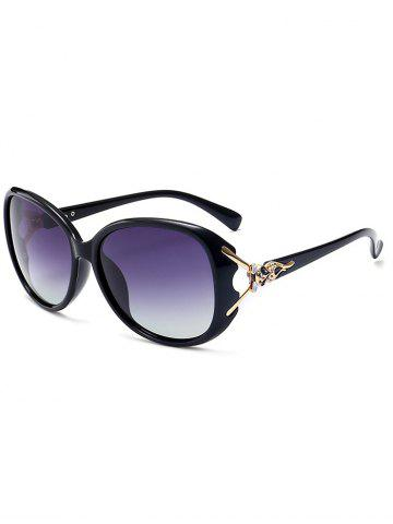 Shop Metallic Engraved Inlay Ombre Sunglasses - BLACK FRAME+GREY LENS  Mobile
