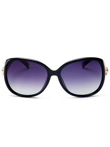 Sale Metallic Engraved Inlay Ombre Sunglasses - BLACK FRAME+GREY LENS  Mobile