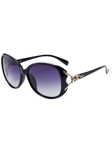 Latest Metallic Engraved Inlay Ombre Sunglasses - BLACK FRAME+GREY LENS  Mobile