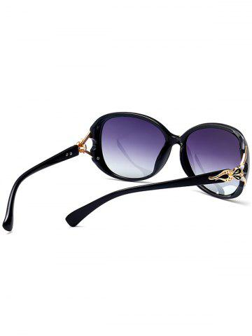 Chic Metallic Engraved Inlay Ombre Sunglasses - BLACK FRAME+GREY LENS  Mobile
