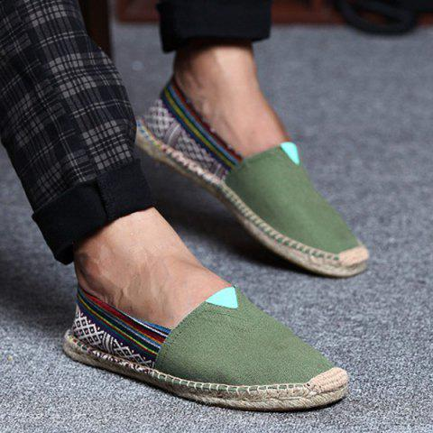 Espadrilles Striped Canvas Shoes - Army Green - 42