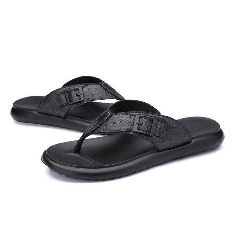 Shop Faux Leather Buckle Strap Slippers - 40 BLACK Mobile