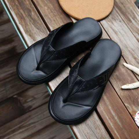 Shop Faux Leather Buckle Strap Slippers - 41 BLACK Mobile