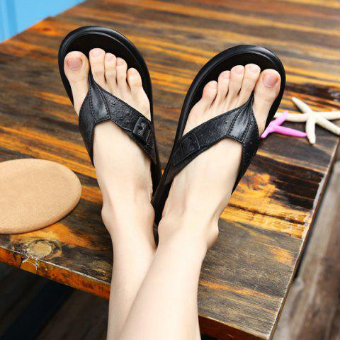 Shop Faux Leather Buckle Strap Slippers - 42 BLACK Mobile