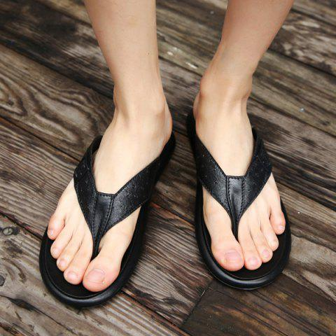 Trendy Faux Leather Buckle Strap Slippers - 43 BLACK Mobile