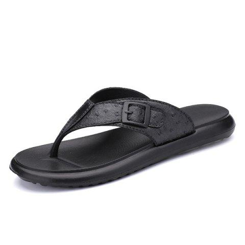 Fancy Faux Leather Buckle Strap Slippers - 43 BLACK Mobile