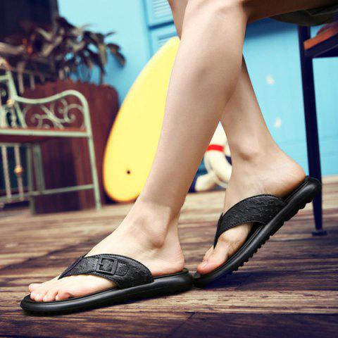 Shop Faux Leather Buckle Strap Slippers - 43 BLACK Mobile