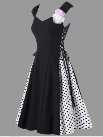 Robe à pois à encolure embellie à la mode Noir M