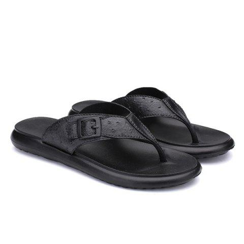 Trendy Faux Leather Buckle Strap Slippers - 44 BLACK Mobile