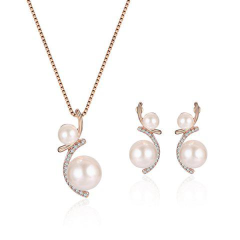 Rhinestone Faux Pearl Pendant Necklace with Earrings - Rose Gold