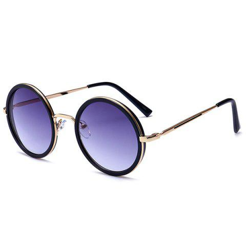 Unique Retro Round Polarized Metallic Frame Sunglasses - GOLD FRAME+GREY LENS  Mobile