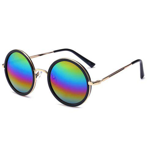 Shops Retro Mirror Round Reflective Metal Frame Sunglasses - BLUE+ROSE RED+PURPLE+GREEN  Mobile