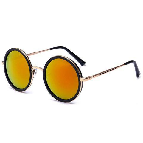 Retro Mirror Round Reflective Metal Frame Sunglasses - Jacinth - S