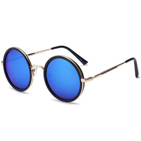 Online Retro Mirror Round Reflective Metal Frame Sunglasses BLUE