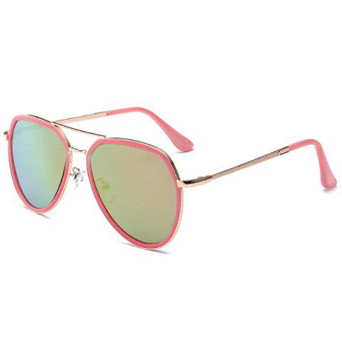 Trendy Metal Frame Reflective Mirror Pilot Sunglasses - BARBIE PINK  Mobile