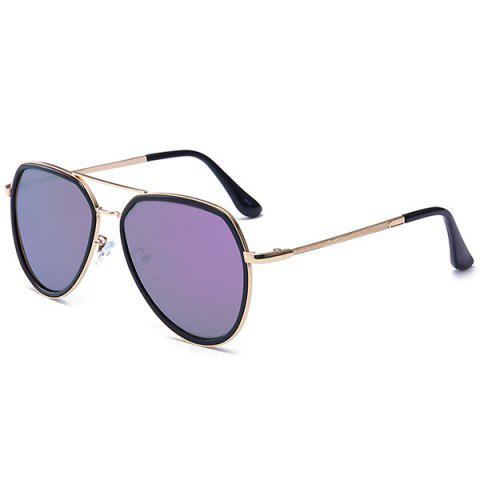 Buy Metal Frame Reflective Mirror Pilot Sunglasses - PURPLE  Mobile