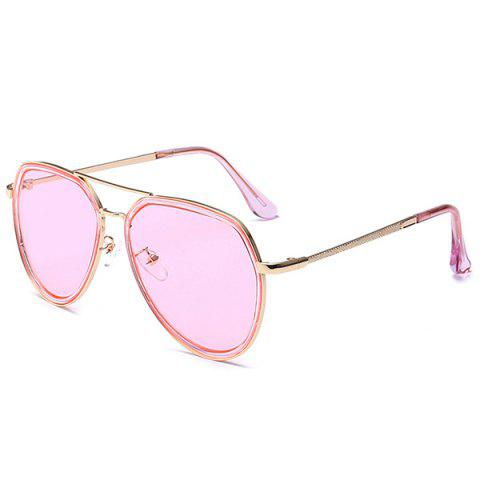 Hot Metal Frame Reflective Mirror Pilot Sunglasses - CLEAR PINK  Mobile