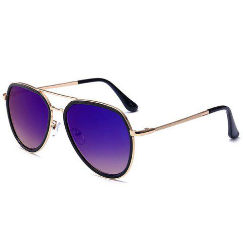 New Metal Frame Reflective Mirror Pilot Sunglasses - DEEP BLUE  Mobile