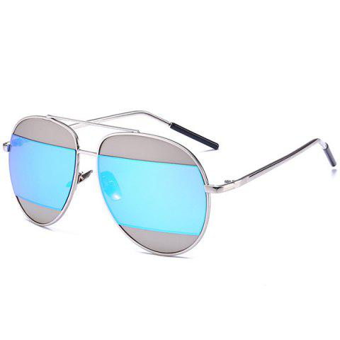 Outfits Anti UV Two-Tone Spliced Mirrored Sunglasses - SILVER FRAME+BLUE MERCURY LENS  Mobile