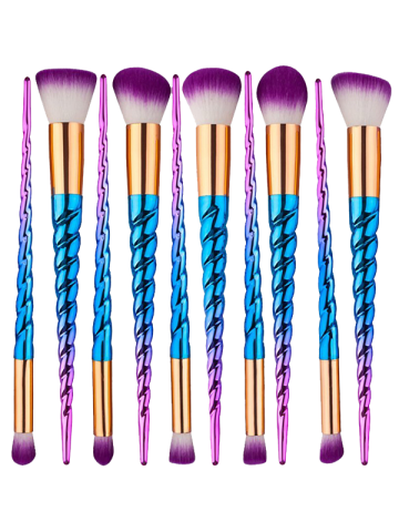 Unique 10Pcs Unicorn Thread Ombre Makeup Brushes Kit - BLUE AND RED  Mobile